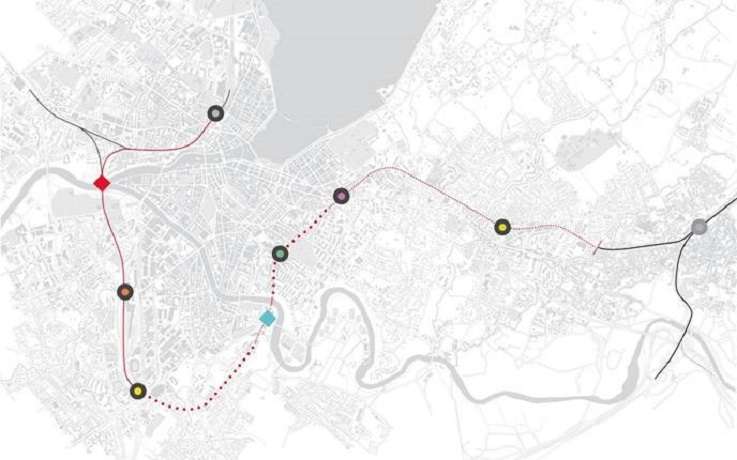 La ligne ferroviaire Cornavin-Annemasse (CEVA) s'étend sur 16 km.